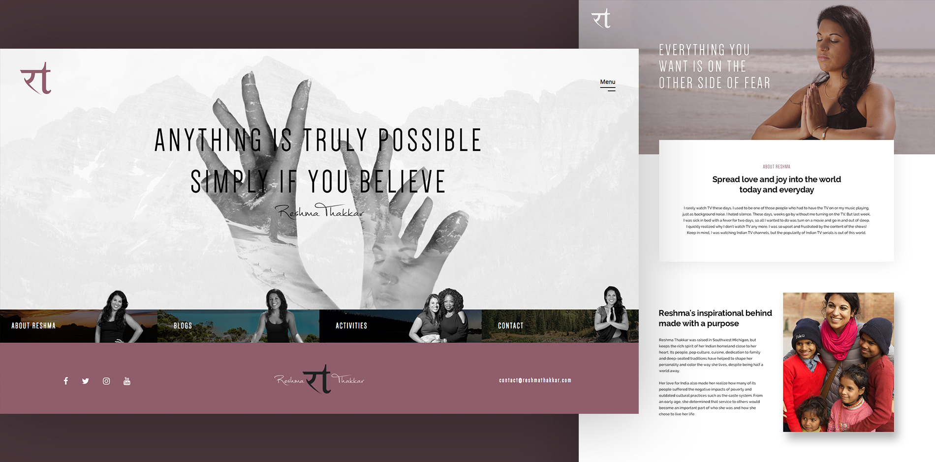 Reshma website mockup